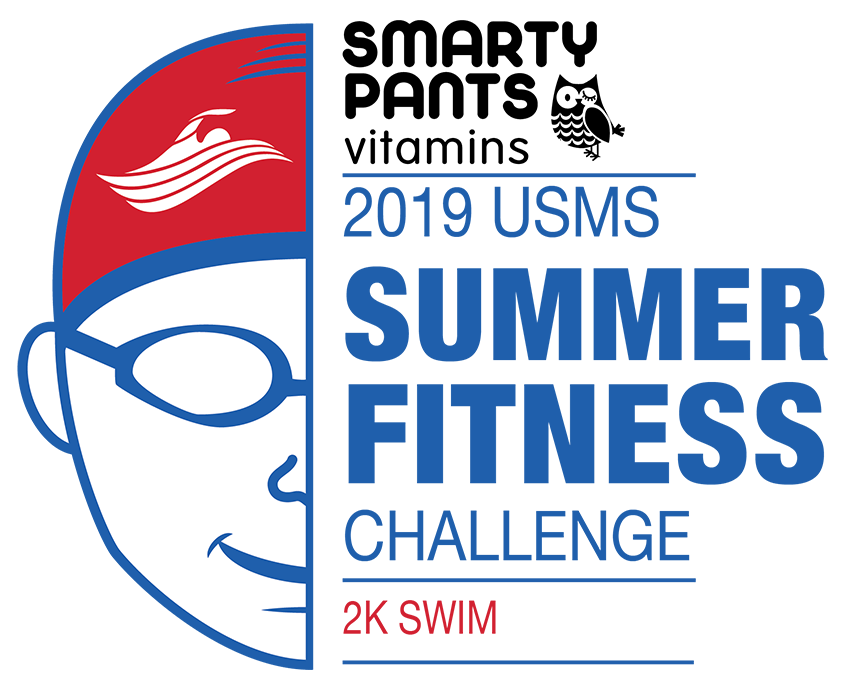 Smarty Pants 2019 USMS Summer Fitness Challenge 2K Swim Color Logo