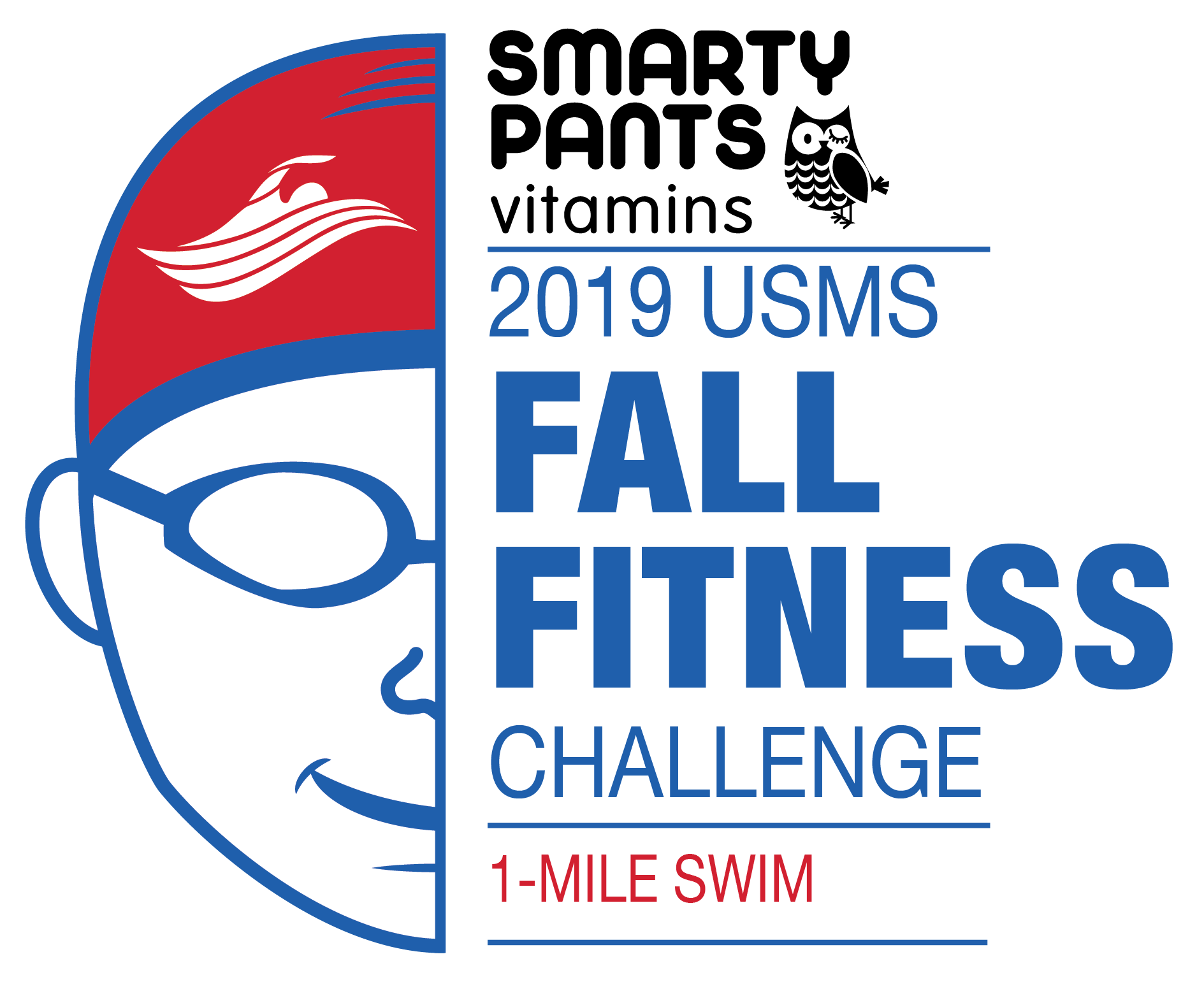 Smarty Pants 2019 USMS Fall Fitness Challenge 1-Mile Swim Color Logo
